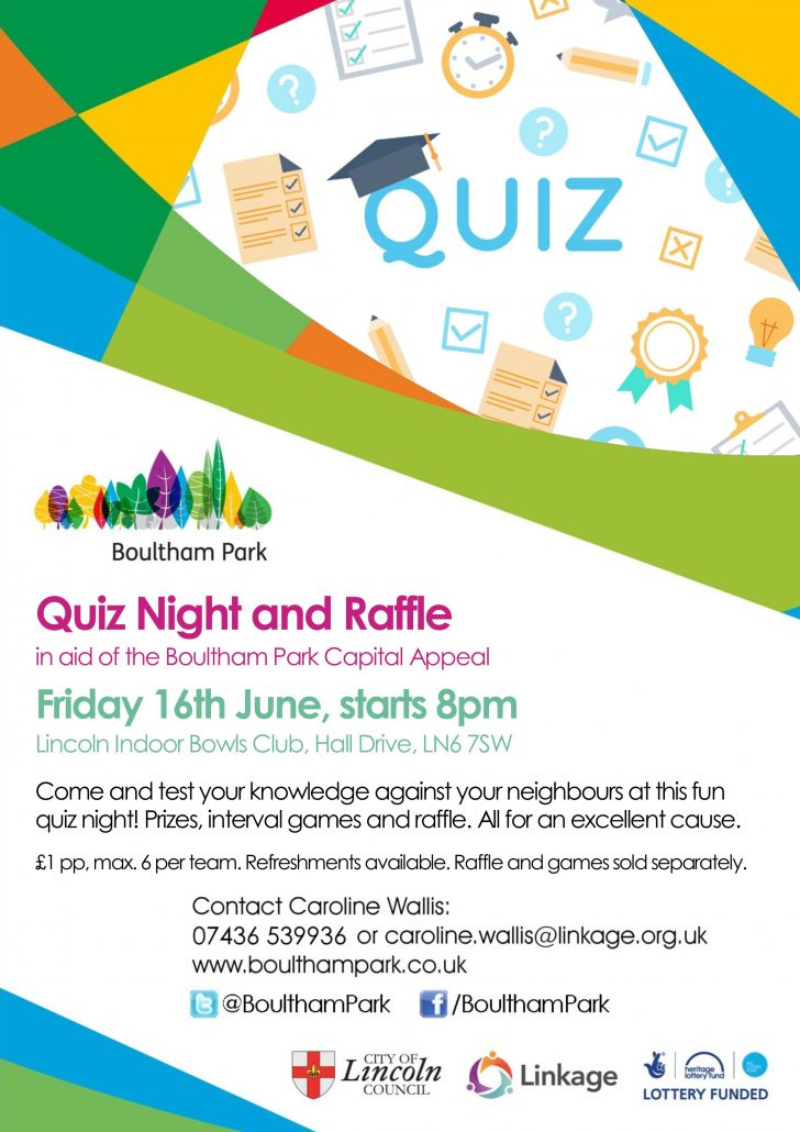 quiz night poster - friday 16th june - 8pm start - lincoln indoors bowls club